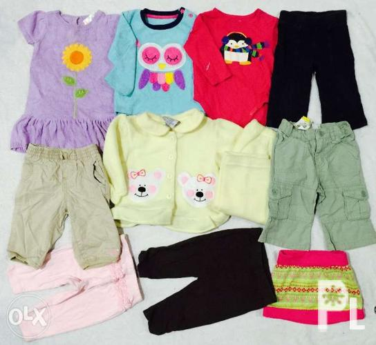 12 Pcs 6 12 Months Baby Girl Clothes Dress Onesie Pants For Sale In
