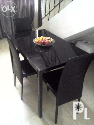 4 Seater (Black) Dining Table Set With Tempered Glass