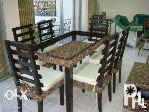 6 Seater Modern Upholstered Dining Table
