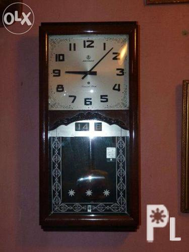Antique Pendulum Wall Clock Long Wooden Case for Sale in