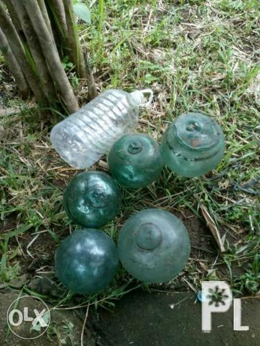 antique vintage glass float bouy 5pc
