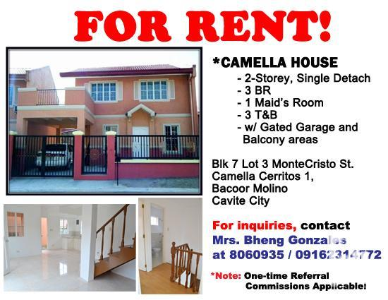 Camella Home In Bacoor Cavite For Rent Cavite City For Sale In Cavite City Calabarzon