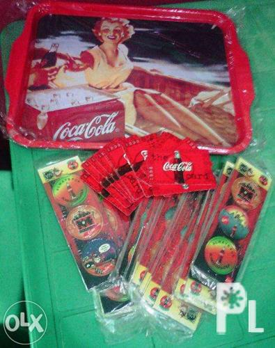 Coca Cola Tray, POGS and Cards