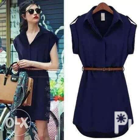 Dress in blue with collar