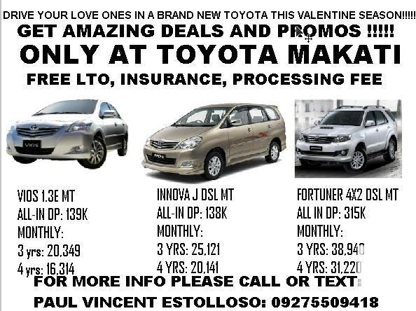 DRIVE YOUR LOVE ONES WITH A BRAND NEW TOYOTA THIS