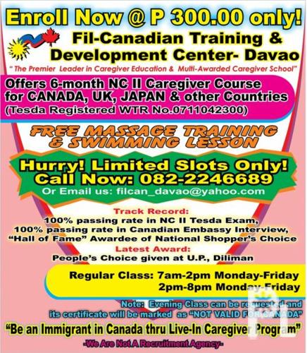 Enroll Now @ P 300.00 only! 6-month Caregiving Course
