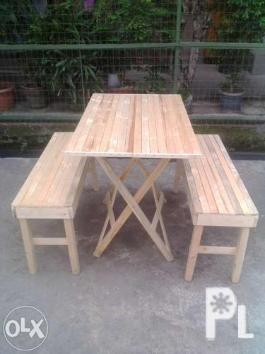 Folding Table And Bench Palochina Wood Dinning Set