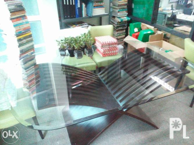 Glass Dining Table With Solid Wood Base For ONLY 15K For Sale In Manila Nati