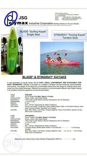 Kayak Tandem Seater With Paddle And Lifevest For Sale In