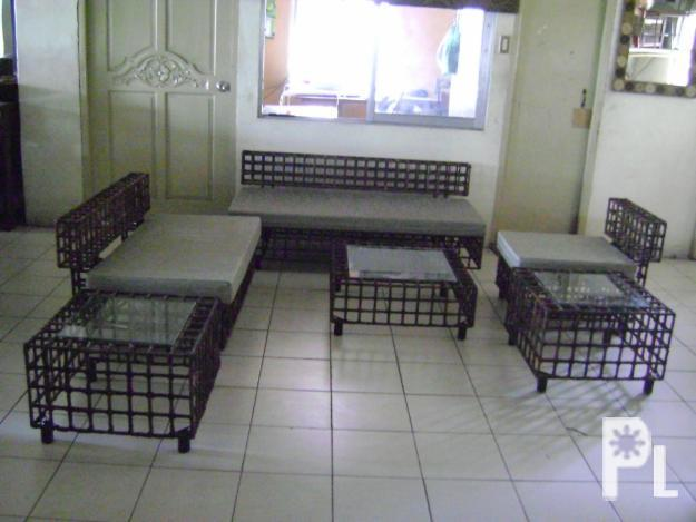 Living room wrought iron abaca japanese bench san for Wrought iron living room furniture