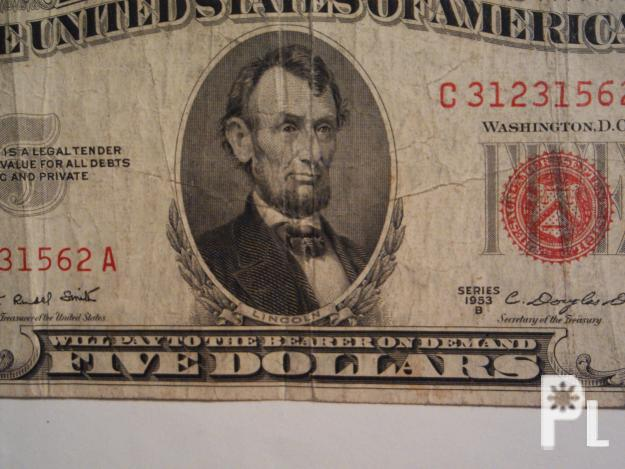 Old Five Dollar Bill With Red Seal San Pedro For Sale In