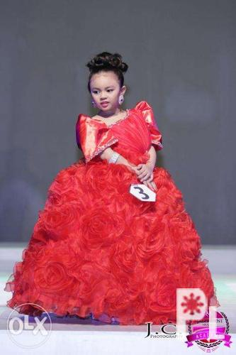 Red filipiniana gown for kids for Sale in Quezon City, National ...