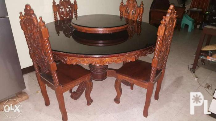 Round Narra Dining Table Set with Glass (8 seats) for Sale in Quezon ...