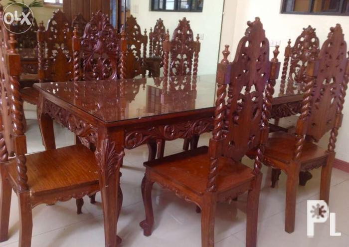 Six-Seater Dining Table with Glass Top made of pure Narra for Sale ...