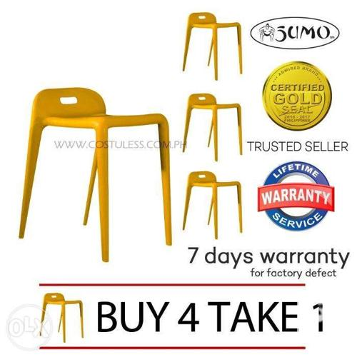 Sumo SS77 Yellow Full PP Plastic Stacking_Bar Stool BUY