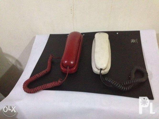 vintage RED and WHITE telephones