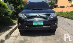 1st owned Toyota Fortuner MT 2013  Bran:dToyota  Mode:lFortuner  Year of manufacture:2013  Condition:Used  Transmission:Automatic  Mileage:60,000  Color:Black