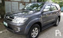 2006 Toyota Fortuner GGas EngineAutomatic TransmissionColor Dark Gray Metallic62,000 Km Reading originalSuper Fresh In and OutLeather Seat CoverExcellent Engine PerformanceWell MaintainedStrong AirconZero kalampag1st OwnerSuper Fresh In and Out
