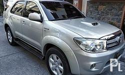 Toyota Fortuner 2006 Year 140,000 km mileage 3.0L Engine Diesel Fuel Automatic transmission 4x4 All power Automatic transmission 3.0L Diesel engine 4x4 2010 Look Fog lamps Alarm Clean interior Smooth paint Tinted windows Stereo Dual ac Mags Spoiler
