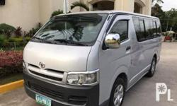 Toyota HiAce Commuter 2007 Year 132,000 km mileage 2.5L Engine Diesel Fuel Manual transmission Air Conditioning Power Steering Remote Keyless Entry Sunroof Leather Interior Air Bags Alarm Anti-Lock Brakes (ABS) AM/FM Radio TOYOTA HI-ACE COMMUTER 2007