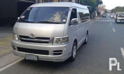 Description 2009 Toyota Hiace Grandia GL Manual Transmission Diesel Engine All Original No Car Accident History Leather Seats Cover No Car Accident History Alarm / Back Up Sensor Fresh In and out Complete Papers Mileage 80tkm Price 280,000