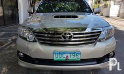 2013 Toyota Fortuner G 4x2 VNT 4x22.5 D4D VNT TURBOAutomatic52k kms Thick GoodYear Wrangler tires 2 din monitor with navigation and bluetooth Well preserved interior and exterior! COLD COLD AIRCONVERY SHINY PAINTPOWERFUL ENGINE RESPONSESMOOTH