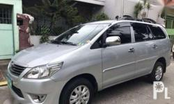 Toyota innova 2013 Year 80,000 km mileage 0.0L Engine Diesel Fuel Manual transmission Leather interior Climate Control Airbags Power steering Manual windows Central lock Alarm CD+Mp3 audio system 2013 Toyota Innova 2.5L Diesel M/T Turbo Thermalyte Color