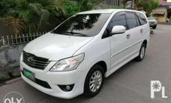 2013 Toyota Innova G Diesel Automatic Toyota Innova G 2.5 Diesel 2013 model All Power 60T kms Automatic transmission Orig Paint Pearl White Leather interior Dual cool aircon Dual Airbags Steering audio controls Rear Spoiler Side skirt Back up sensors Not