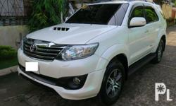 2015 Toyota Fortuner V 4x2 Diesel EngineTRD EDITIONAutomatic Transmission 7�Touch Screen Tv Monitor OriginalColor Pearl White1st OwnerLED HeadlightUpgraded to lexus TailightSuper Fresh In and OutAlmost Brand New Condition2017 toyota Fortuner Mags with