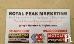 For sale car and motorcycle batteries. Alabang to Calamba Area We sell local and imported batteries Royal Peak Marketing Blk 1 A1 Lot 4 Juana 1 Complex Bi�±an, Laguna