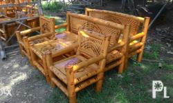 Bamboo sala set - consist of 2 long chair, 2 short chairs and 1 center table. All made of bamboo, with fine finish and design. Free delivery within Zamboanga City. Just call or txt - zero 9 7 seven one two 5 8 nine 8 8