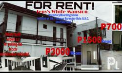 Newly build,9 rooms available for P700.00/head monthly (4 heads/room).3 rooms available for P1,500.00/head monthly (2 heads/room).6 rooms available for P3,000.00 monthly good for 1 person.with own c.r and ceiling fan,1 month adv.1 month dep.