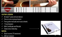 GUITAR LESSON At least 7 years old and above One-on-one or group lesson Free guitar manuals and music sheets 1 hour/session With Certificate and Recital Class every Saturday RATES: Short course (10 sessions) 250 per session Contact Number: 09953638415