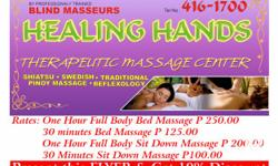 Healing Hands Therapeutic Massage Center - by Blind Masseurs located at A.S.Fortuna Mandaue City - operating hours is 1:30pm to 12 midnight. Across Greenbank, near Hyundai Showroom. We offer Shiatsu, Swedish, Reflexology, and Traditional Pinoy Massage. 1