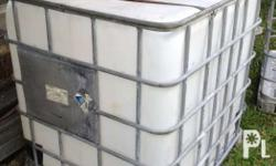 Intermediate Bulk Container 1000 liter capacity Empty container can be carried by two person, approximate weight 50 kilograms empty * with aluminum pallet frame for easy transport * no spillage liquid container * portable water storage that can be carried