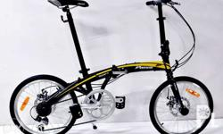 "Peerless Swift 20"" Folding BIke (Disc Brake) 20"" alloy disc brake frame 52T alloy crank shimano 7 speed 33.9mm alloy seatpost peerless saddle Color: Black/Yellow, Black/Red Meetup at LRT 5th Avenue Station"