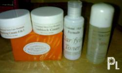 problems with your dark spot and other skin pigmentation.here's the products that suits your skin.whitening set that consist of rejuvinating toner,sunblock,kojid acid soap and bleaching 4 in 1 cream..