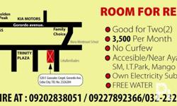 Deskripsiyon ROOM FOR RENT Good for two(2) 3,500/MONTH Accessible to I.T. park, Ayala, Mango Ave., SM, and other important places to you. No Curfew Water is FREE OWN SUBMETER for Electricity INQUIRE AT : 09202838051 / 09227892366/032-2326204