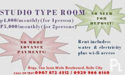p4000/monthly (for 1 person) p5000/monthly (for 2 persons) NO MORE ADVANCE DEPOSITS NEEDED!!! FREE nawasa water supply FREE electricity for all appliances FREE wi-fi access room with own CR and lavatory furnished with ceiling fan includes bedfoam, pillow