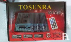 TOSUNRA SD/USB/INPUT WIDE RANGE AMPLIFIER for P 750.00 Audioline 2 way speaker for only P 180.00 with powercord para connect sa 12v. battery