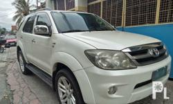 Toyota Fortuner G 2008 Year 99,000 km mileage 2.5L Engine Diesel Fuel Automatic transmission Air Conditioning Cruise Control Power Steering Remote Keyless Entry Leather Interior Air Bags Alarm Anti-Lock Brakes (ABS) Fog Lights AM/FM Radio CD Player Intact