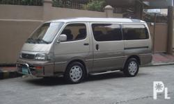 Toyota Hiace 2002 3.0 1kz Turbo Diesel Engine.5 Speed Automatic Transmission.15-inch mags with 90% tires.Sony Xplod iPod-ready CD Stereo.Bullbars.Cool dual aircon.Orig paint.First owner.Complete Legal Papers.Excellent Condition