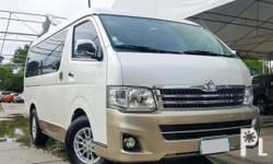 2013 Toyota Hiace Super Grandia 2T DSL AT 1st Owner! Mileage 61k kms only White Pearl - Two Tone Original Casa Paint Keyless Entry with Original Spare Keys 11-seater VAN Back Sensor  Chrome Door handles & Side Mirrors Dual, Side Airbags  Very Cold Dual