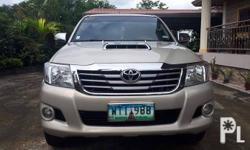 TOYOTA HILUX G  YEAR: 2013 TRANSMISSION: AUTOMATIC FUEL: DIESEL MILEAGE: 85,000 See to appreciate 4x4 (3.0) Malamig ang aircon Ready for long drive No issues, bring your trusted mechanic for your Check all you want