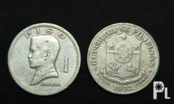 "We Buy 1972-1974 Philippine 1 Piso Coin ""JOSE RIZAL"" PRICE: Php 1.20 each (One Piso and 20 Cents) M.O.Q. 20 pcs. up One Peso Coin (1972-1974) Obverse: Jose Rizal, ""Piso"", ""1"" Reverse: seal of the Republic of the Philippines, ""Bangko Sentral"", year mark"