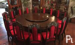 "80"" diameter Mahogany wood dining table with lazy susan"