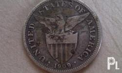 50 centavos USA Filipinas coin mint year 1909 minted in