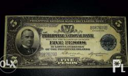1921 Mckinley US-Philippines banknote, blue seal- 5