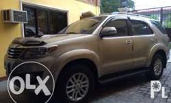 For Sale my Toyota Fortuner 2013 Silky Gold,casa
