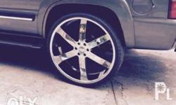 Slightly Used chrome mags with brand new tires size